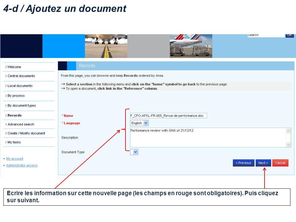 4-d / Ajoutez un document Ecrire les information sur cette nouvelle page (les champs en rouge sont obligatoires).