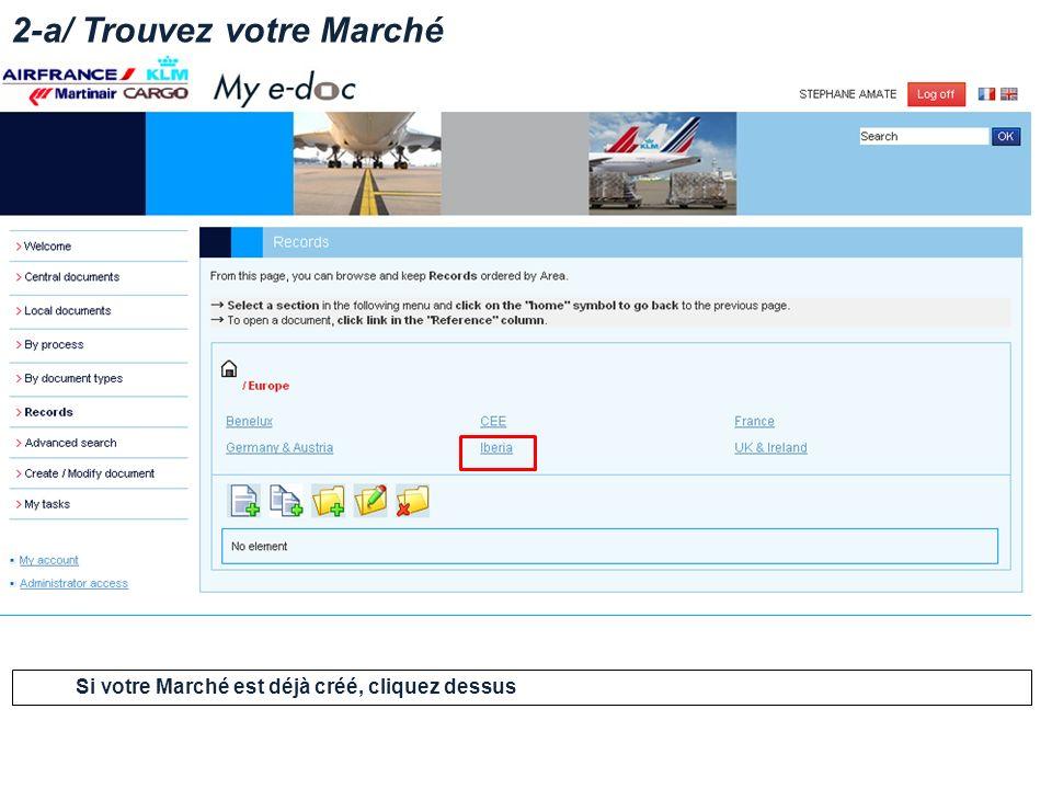 2-a/ Trouvez votre Marché Si votre Marché est déjà créé, cliquez dessus