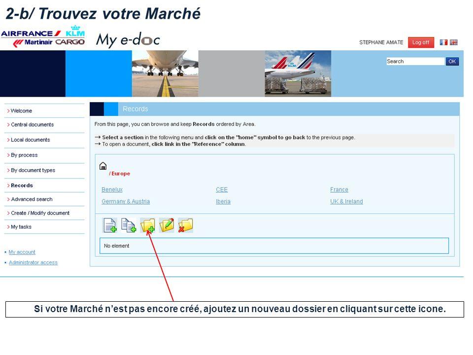 2-b/ Trouvez votre Marché Si votre Marché nest pas encore créé, ajoutez un nouveau dossier en cliquant sur cette icone.