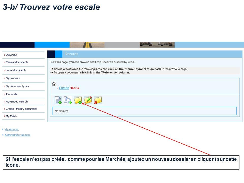 3-b/ Trouvez votre escale Si lescale nest pas créée, comme pour les Marchés, ajoutez un nouveau dossier en cliquant sur cette icone.