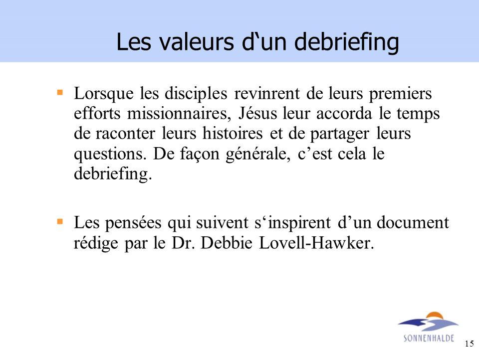 15 Les valeurs dun debriefing Lorsque les disciples revinrent de leurs premiers efforts missionnaires, Jésus leur accorda le temps de raconter leurs h