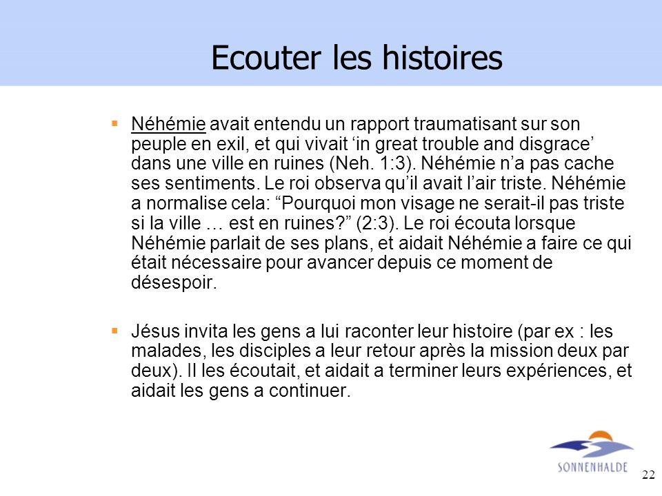 22 Ecouter les histoires Néhémie avait entendu un rapport traumatisant sur son peuple en exil, et qui vivait in great trouble and disgrace dans une vi