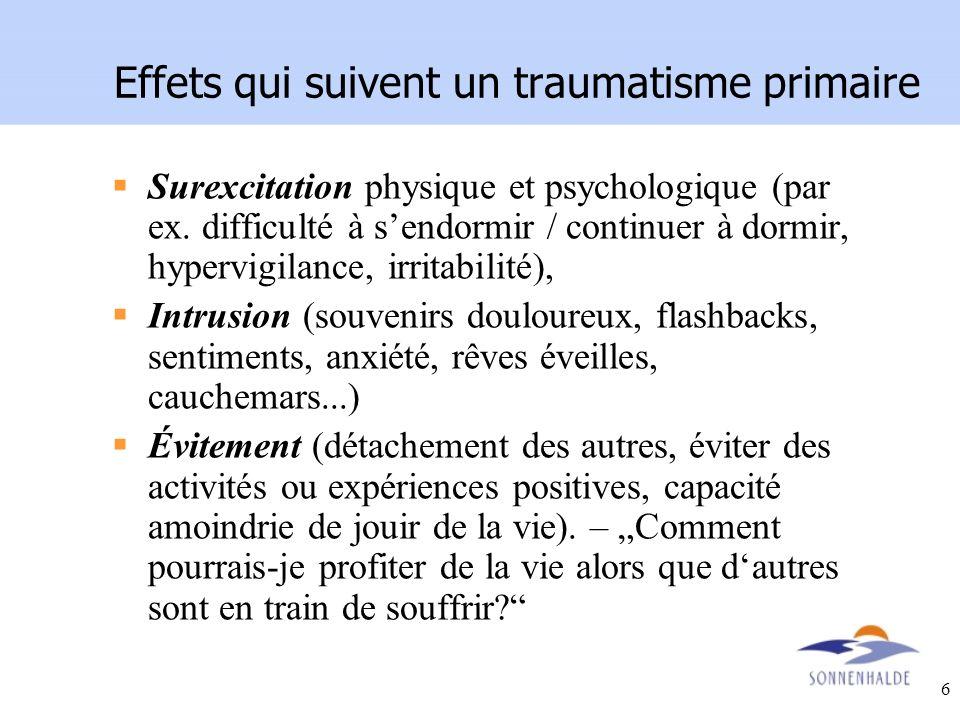 6 Effets qui suivent un traumatisme primaire Surexcitation physique et psychologique (par ex. difficulté à sendormir / continuer à dormir, hypervigila