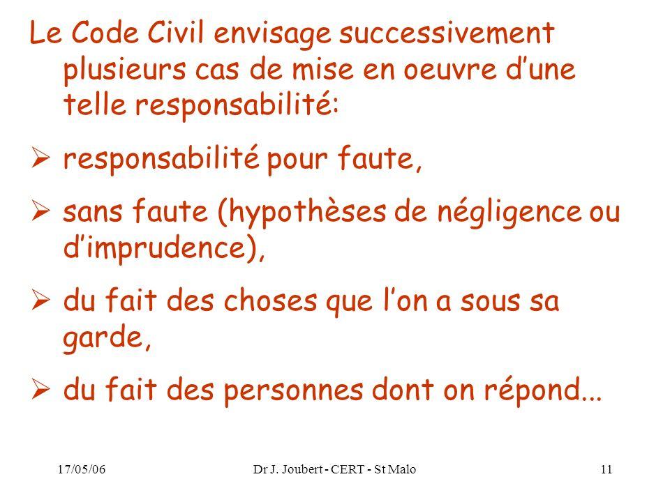 17/05/06Dr J. Joubert - CERT - St Malo11 Le Code Civil envisage successivement plusieurs cas de mise en oeuvre dune telle responsabilité: responsabili