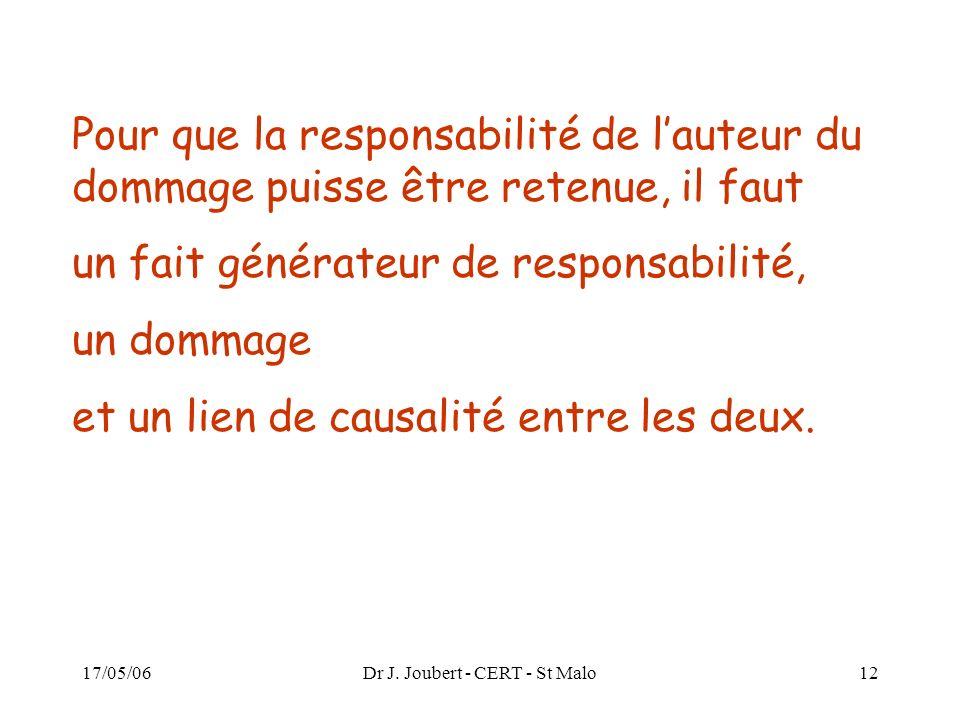 17/05/06Dr J. Joubert - CERT - St Malo12 Pour que la responsabilité de lauteur du dommage puisse être retenue, il faut un fait générateur de responsab