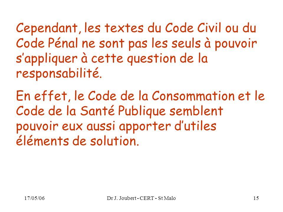 17/05/06Dr J. Joubert - CERT - St Malo15 Cependant, les textes du Code Civil ou du Code Pénal ne sont pas les seuls à pouvoir sappliquer à cette quest