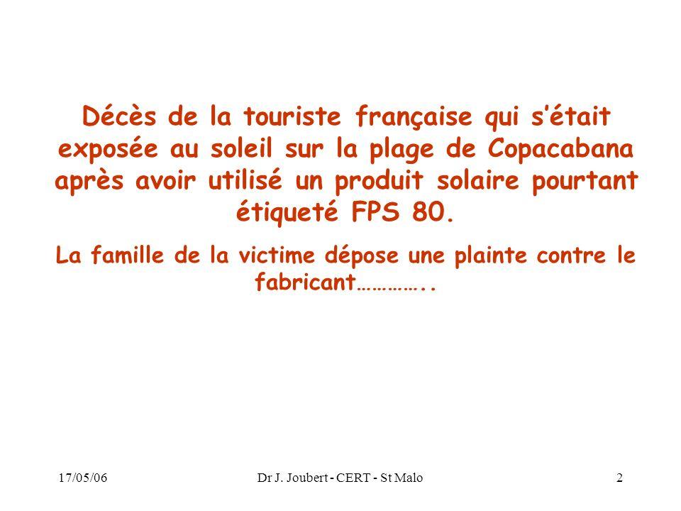 17/05/06Dr J. Joubert - CERT - St Malo2 Décès de la touriste française qui sétait exposée au soleil sur la plage de Copacabana après avoir utilisé un