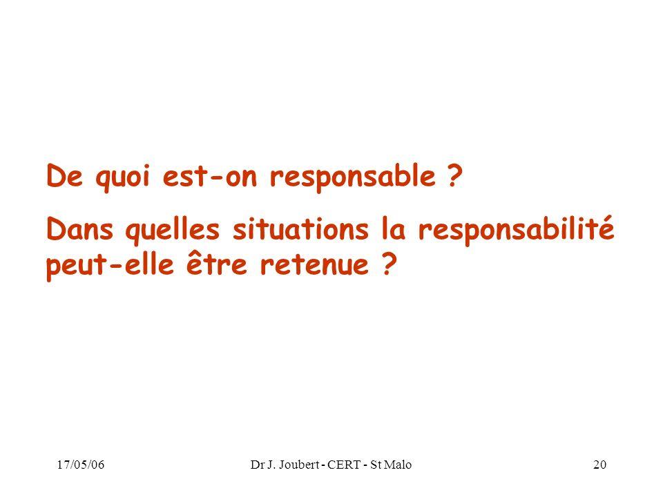 17/05/06Dr J. Joubert - CERT - St Malo20 De quoi est-on responsable ? Dans quelles situations la responsabilité peut-elle être retenue ?