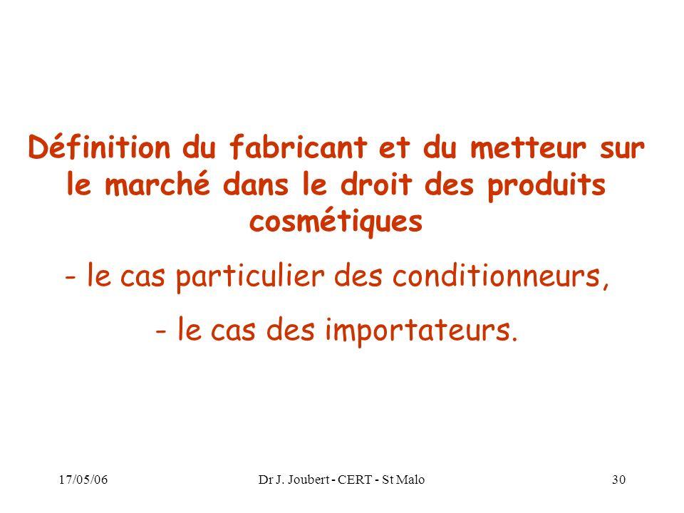 17/05/06Dr J. Joubert - CERT - St Malo30 Définition du fabricant et du metteur sur le marché dans le droit des produits cosmétiques - le cas particuli