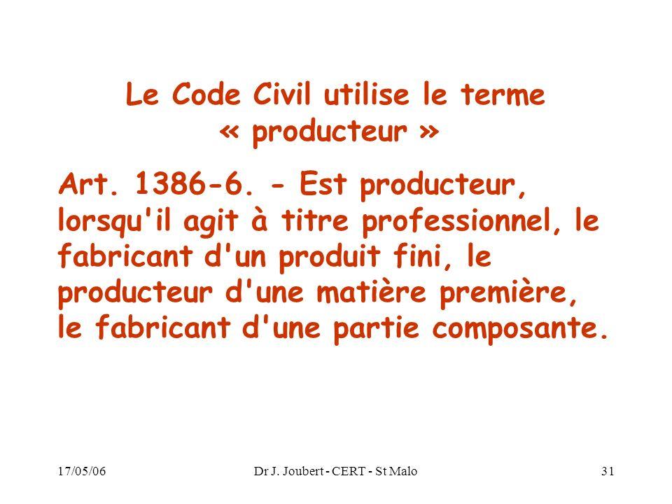 17/05/06Dr J. Joubert - CERT - St Malo31 Le Code Civil utilise le terme « producteur » Art. 1386-6. - Est producteur, lorsqu'il agit à titre professio