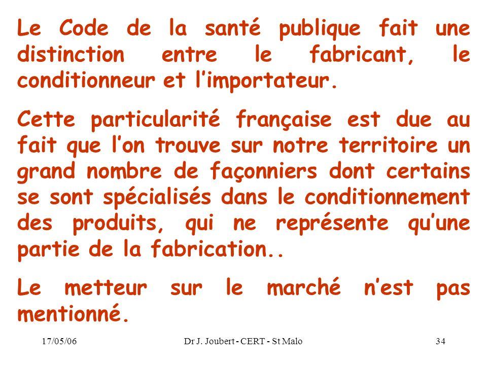 17/05/06Dr J. Joubert - CERT - St Malo34 Le Code de la santé publique fait une distinction entre le fabricant, le conditionneur et limportateur. Cette