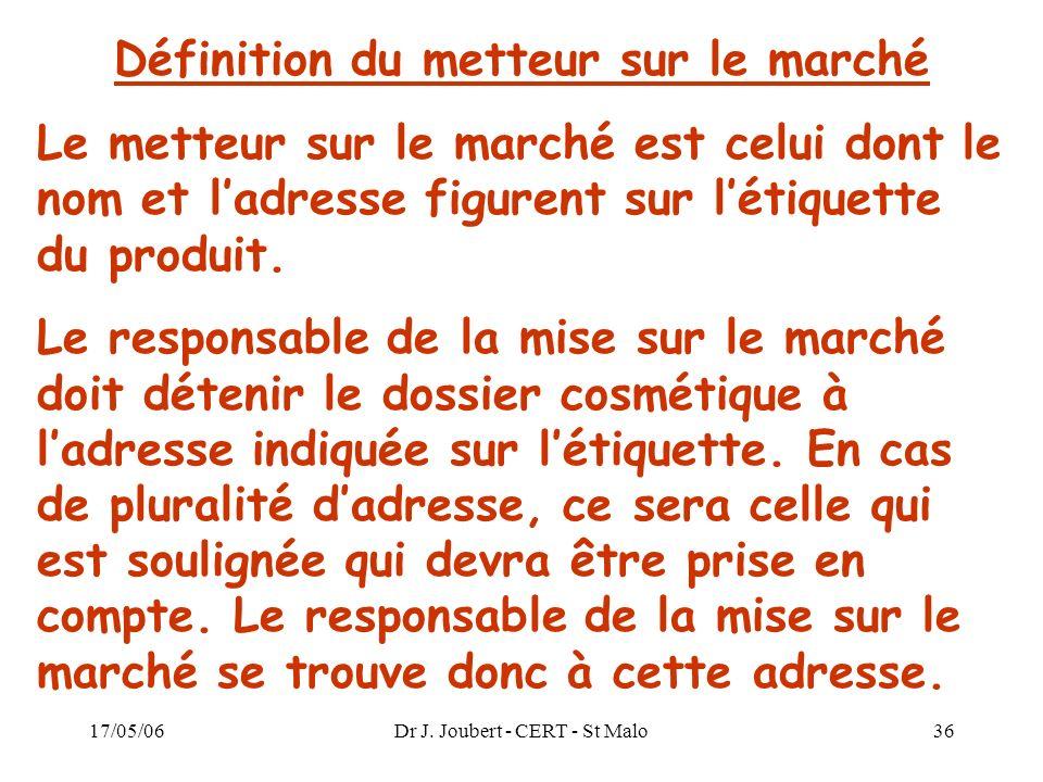 17/05/06Dr J. Joubert - CERT - St Malo36 Définition du metteur sur le marché Le metteur sur le marché est celui dont le nom et ladresse figurent sur l