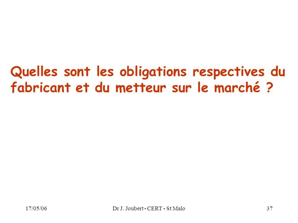17/05/06Dr J. Joubert - CERT - St Malo37 Quelles sont les obligations respectives du fabricant et du metteur sur le marché ?