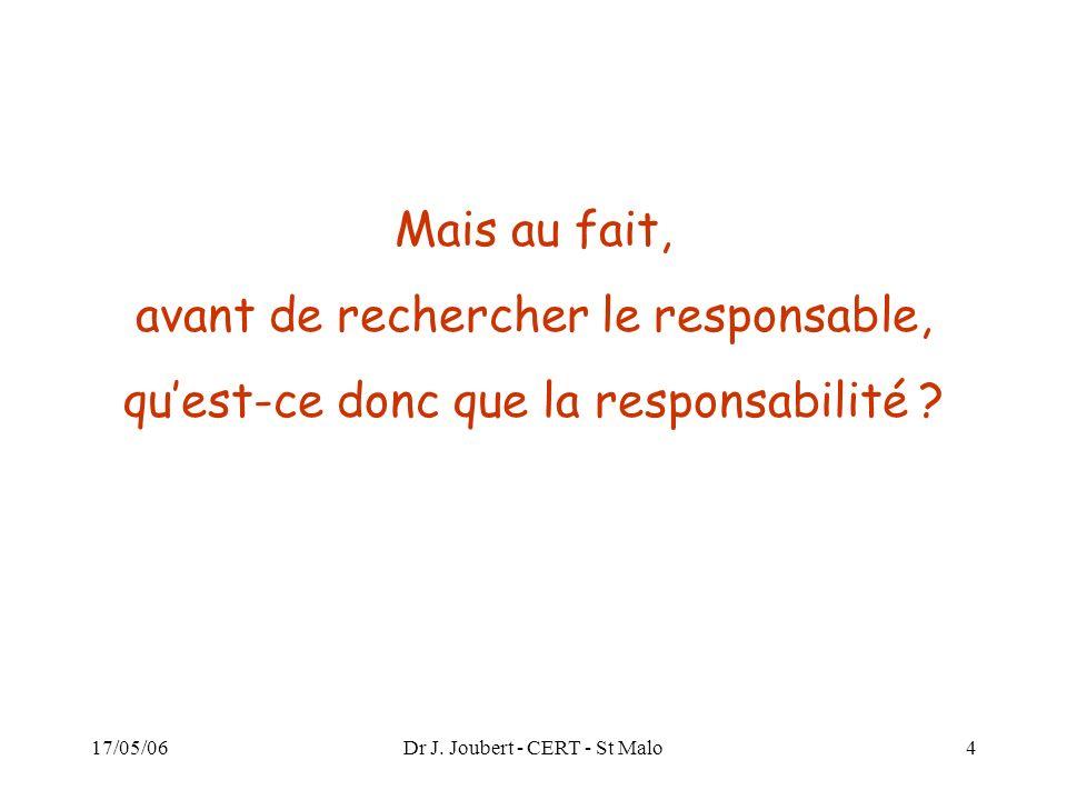 17/05/06Dr J. Joubert - CERT - St Malo4 Mais au fait, avant de rechercher le responsable, quest-ce donc que la responsabilité ?
