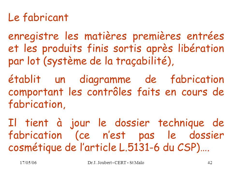 17/05/06Dr J. Joubert - CERT - St Malo42 Le fabricant enregistre les matières premières entrées et les produits finis sortis après libération par lot