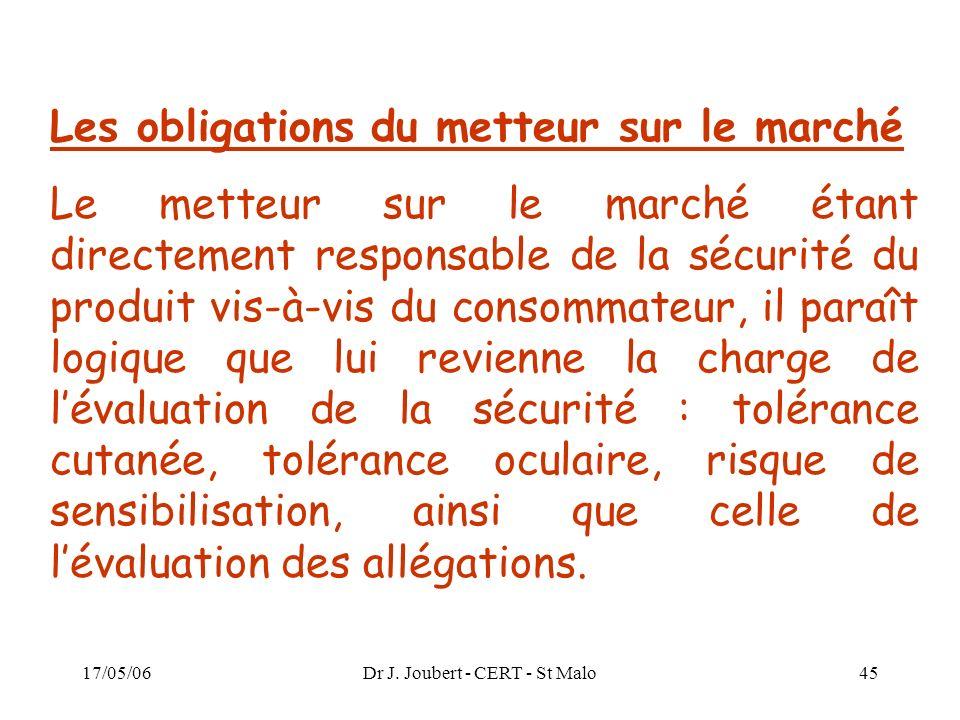 17/05/06Dr J. Joubert - CERT - St Malo45 Les obligations du metteur sur le marché Le metteur sur le marché étant directement responsable de la sécurit