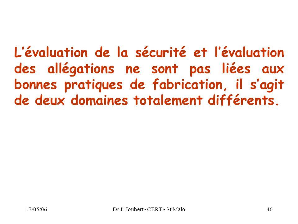 17/05/06Dr J. Joubert - CERT - St Malo46 Lévaluation de la sécurité et lévaluation des allégations ne sont pas liées aux bonnes pratiques de fabricati