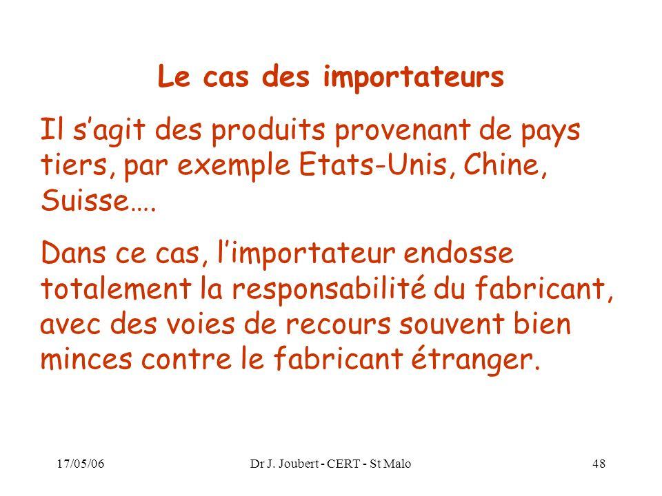 17/05/06Dr J. Joubert - CERT - St Malo48 Le cas des importateurs Il sagit des produits provenant de pays tiers, par exemple Etats-Unis, Chine, Suisse…