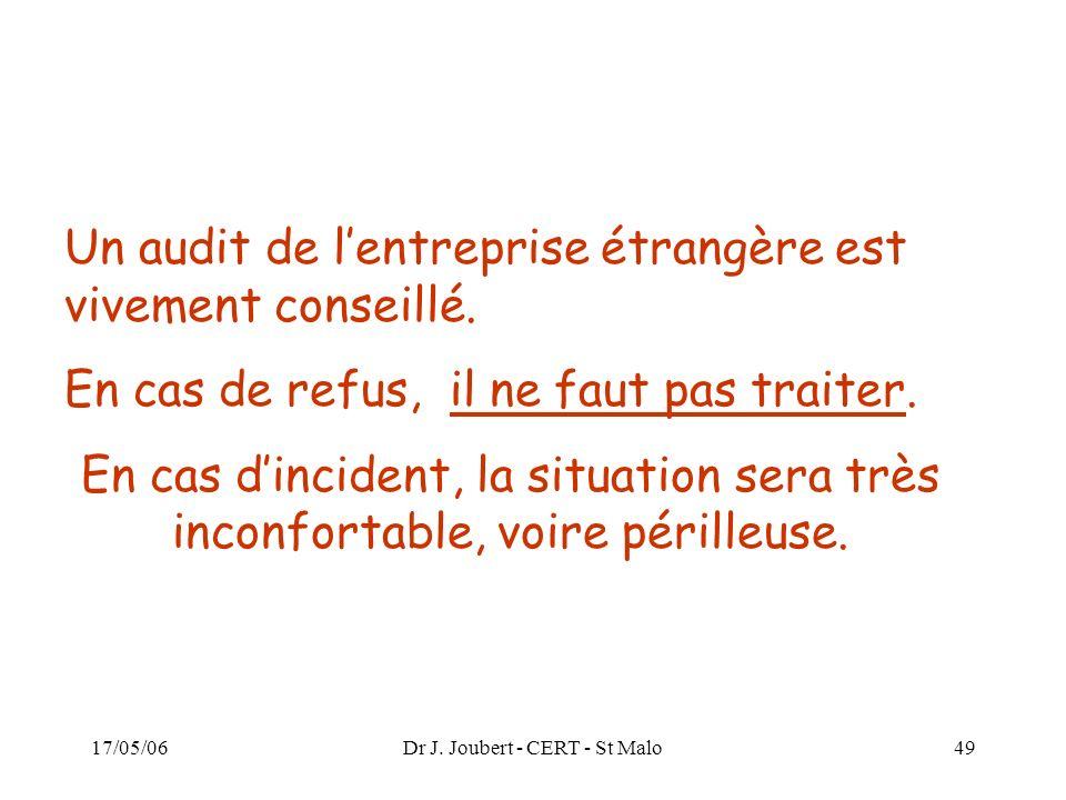 17/05/06Dr J. Joubert - CERT - St Malo49 Un audit de lentreprise étrangère est vivement conseillé. En cas de refus, il ne faut pas traiter. En cas din