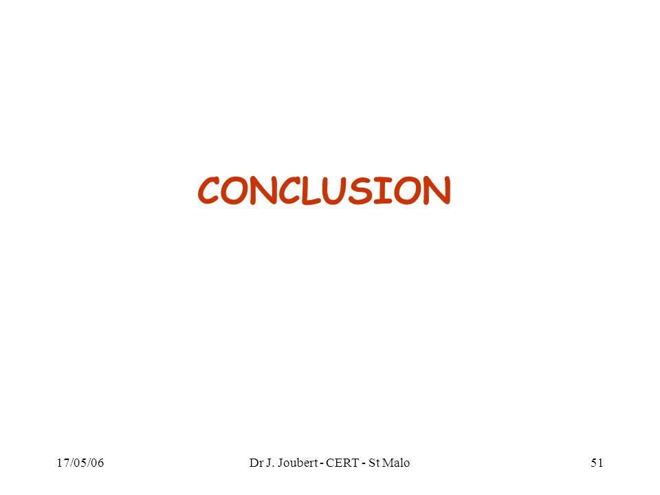 17/05/06Dr J. Joubert - CERT - St Malo51 CONCLUSION