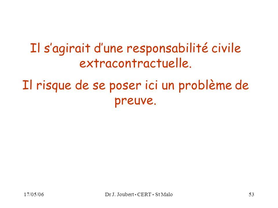 17/05/06Dr J. Joubert - CERT - St Malo53 Il sagirait dune responsabilité civile extracontractuelle. Il risque de se poser ici un problème de preuve.