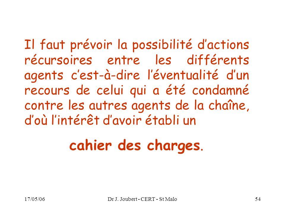 17/05/06Dr J. Joubert - CERT - St Malo54 Il faut prévoir la possibilité dactions récursoires entre les différents agents cest-à-dire léventualité dun