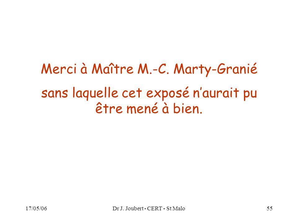 17/05/06Dr J. Joubert - CERT - St Malo55 Merci à Maître M.-C. Marty-Granié sans laquelle cet exposé naurait pu être mené à bien.