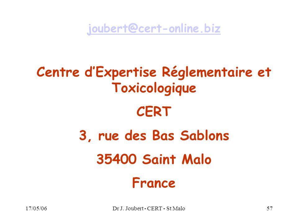 17/05/06Dr J. Joubert - CERT - St Malo57 joubert@cert-online.biz Centre dExpertise Réglementaire et Toxicologique CERT 3, rue des Bas Sablons 35400 Sa