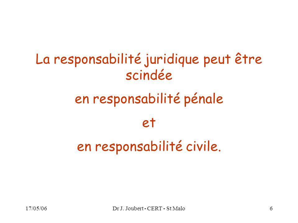 17/05/06Dr J. Joubert - CERT - St Malo6 La responsabilité juridique peut être scindée en responsabilité pénale et en responsabilité civile.