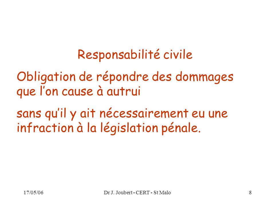 17/05/06Dr J. Joubert - CERT - St Malo8 Responsabilité civile Obligation de répondre des dommages que lon cause à autrui sans quil y ait nécessairemen