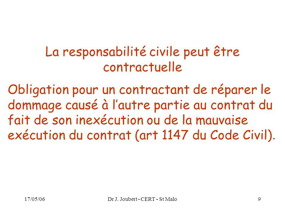17/05/06Dr J. Joubert - CERT - St Malo9 La responsabilité civile peut être contractuelle Obligation pour un contractant de réparer le dommage causé à