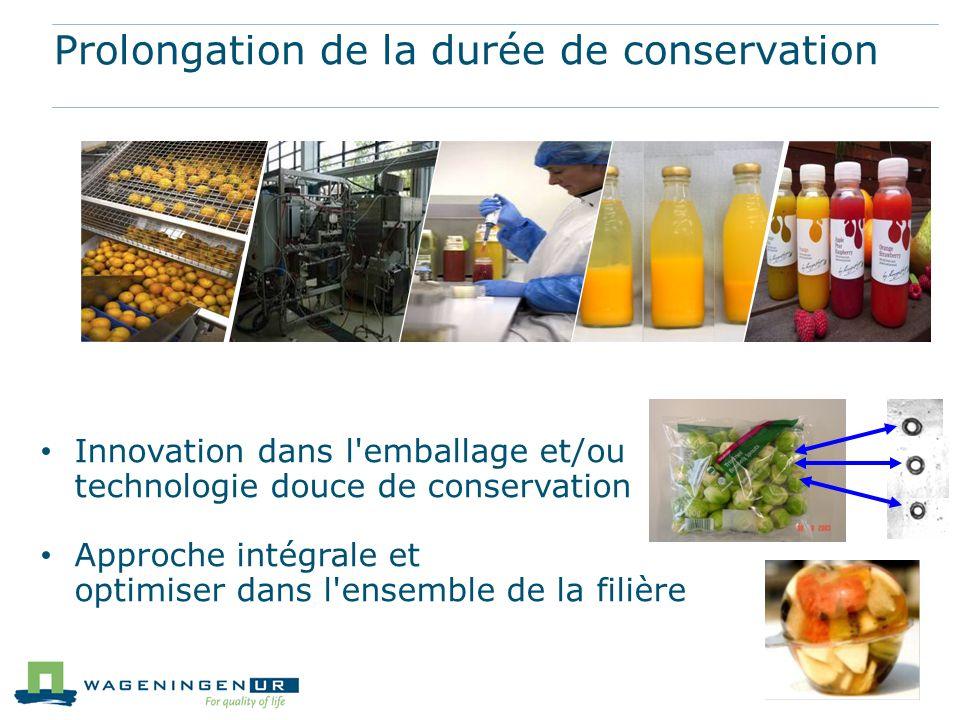 Prolongation de la durée de conservation Innovation dans l'emballage et/ou technologie douce de conservation Approche intégrale et optimiser dans l'en