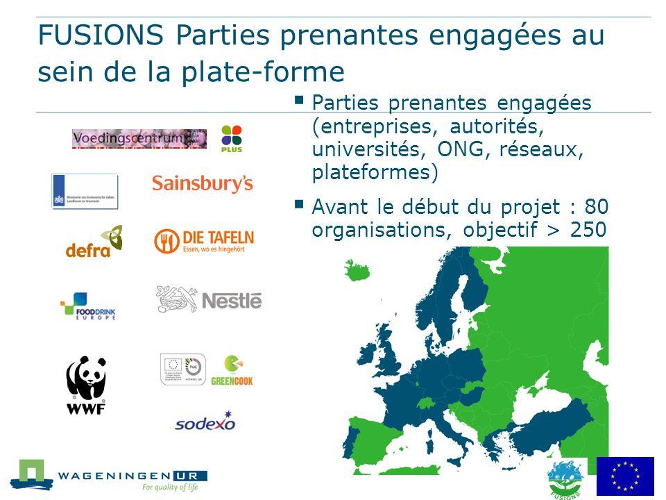 FUSIONS Parties prenantes engagées au sein de la plate-forme Parties prenantes engagées (entreprises, autorités, universités, ONG, réseaux, plateforme