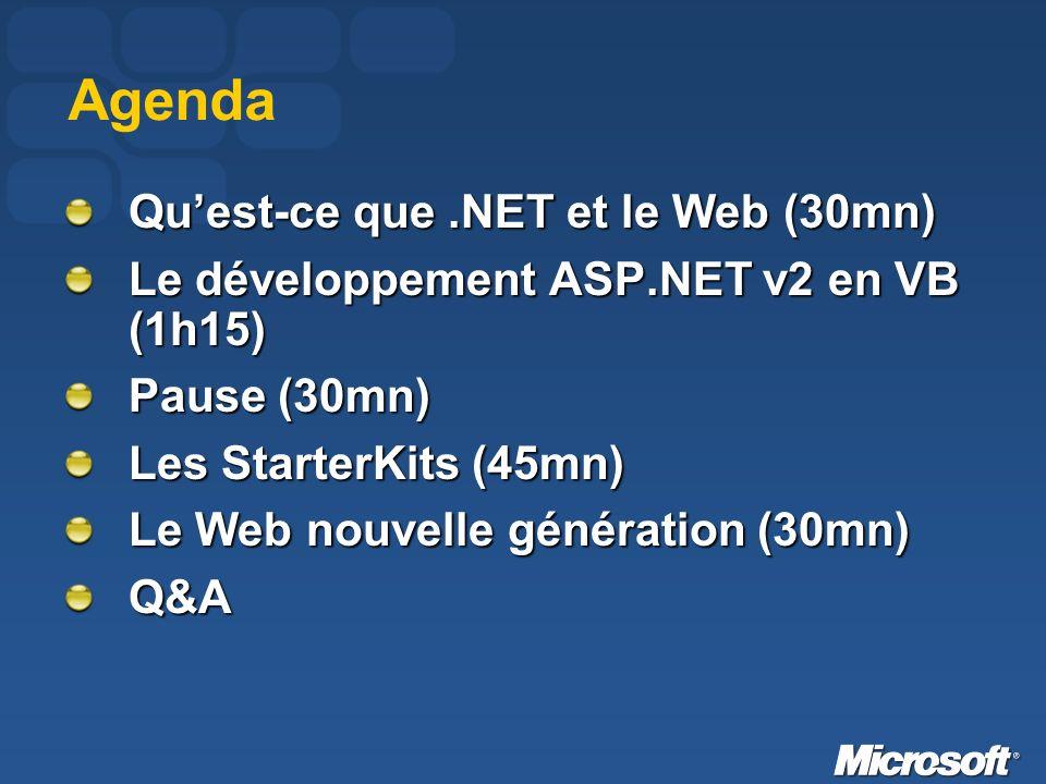 Agenda Quest-ce que.NET et le Web (30mn) Le développement ASP.NET v2 en VB (1h15) Pause (30mn) Les StarterKits (45mn) Le Web nouvelle génération (30mn) Q&A