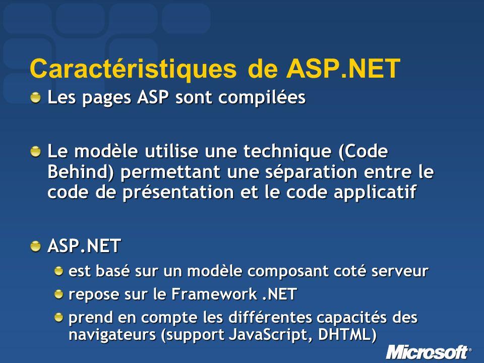 Caractéristiques de ASP.NET Les pages ASP sont compilées Le modèle utilise une technique (Code Behind) permettant une séparation entre le code de présentation et le code applicatif ASP.NET est basé sur un modèle composant coté serveur repose sur le Framework.NET prend en compte les différentes capacités des navigateurs (support JavaScript, DHTML)