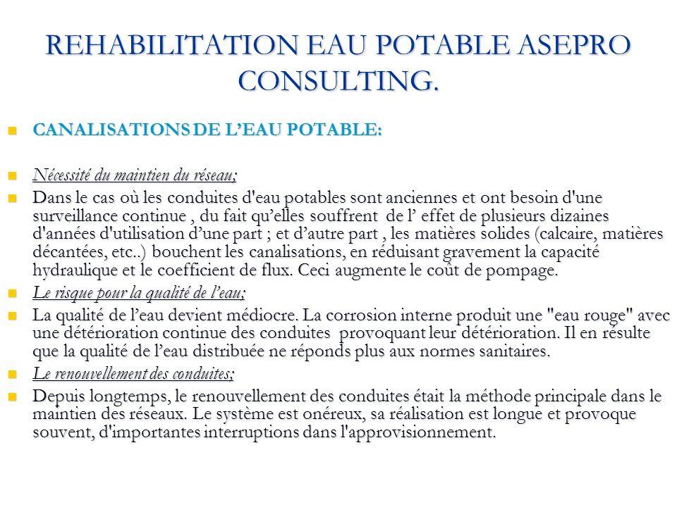 REHABILITATION EAU POTABLE ASEPRO CONSULTING. CANALISATIONS DE LEAU POTABLE: CANALISATIONS DE LEAU POTABLE: Nécessité du maintien du réseau; Nécessité