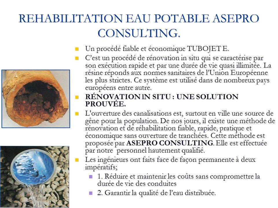 REHABILITATION EAU POTABLE ASEPRO CONSULTING. Un procédé fiable et économique TUBOJET E. Un procédé fiable et économique TUBOJET E. Cest un procédé de