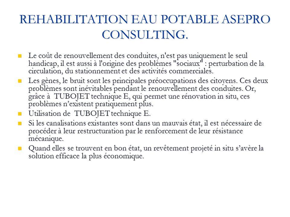 REHABILITATION EAU POTABLE ASEPRO CONSULTING. Le coût de renouvellement des conduites, n'est pas uniquement le seul handicap, il est aussi à l'origine