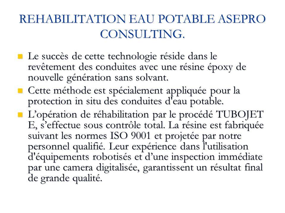 REHABILITATION EAU POTABLE ASEPRO CONSULTING. Le succès de cette technologie réside dans le revêtement des conduites avec une résine époxy de nouvelle
