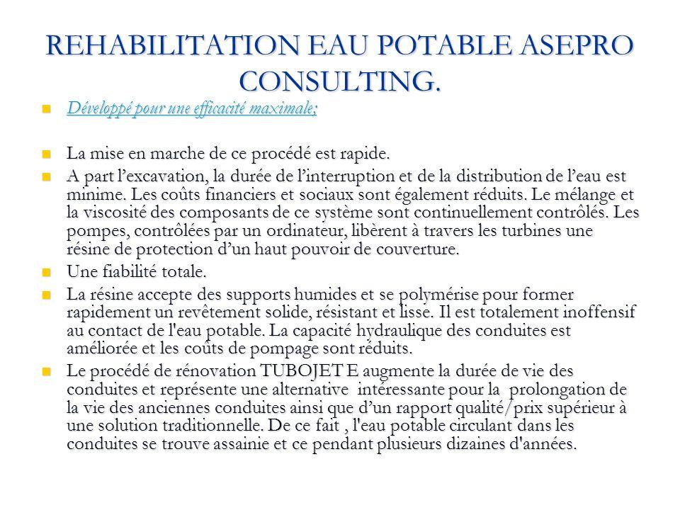 REHABILITATION EAU POTABLE ASEPRO CONSULTING. Développé pour une efficacité maximale; Développé pour une efficacité maximale; La mise en marche de ce