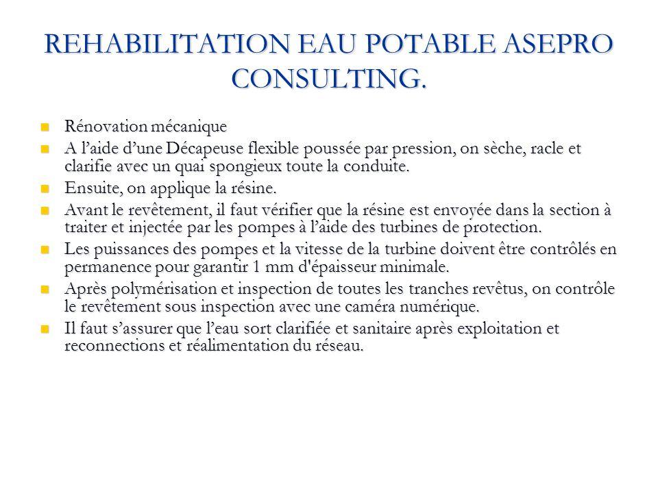 REHABILITATION EAU POTABLE ASEPRO CONSULTING. Rénovation mécanique Rénovation mécanique A laide dune Décapeuse flexible poussée par pression, on sèche
