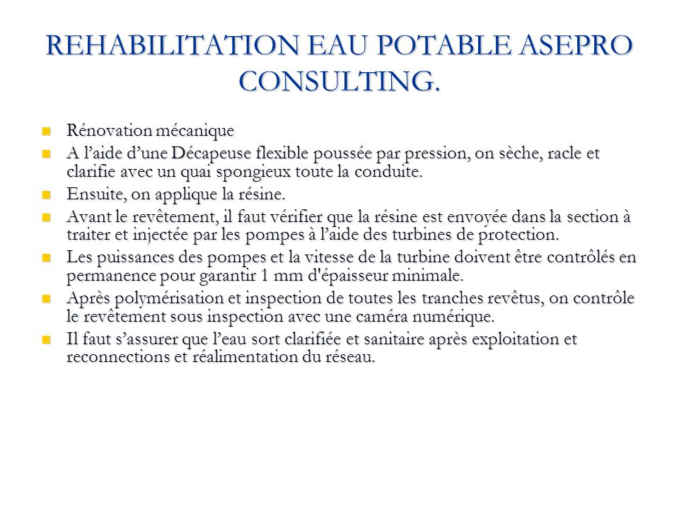 REHABILITATION EAU POTABLE ASEPRO CONSULTING.