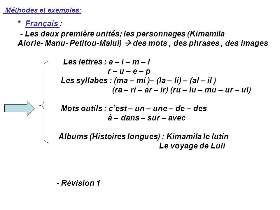 Méthodes et exemples: * Français : - Les deux première unités; les personnages (Kimamila Alorie- Manu- Petitou-Malui) des mots, des phrases, des image