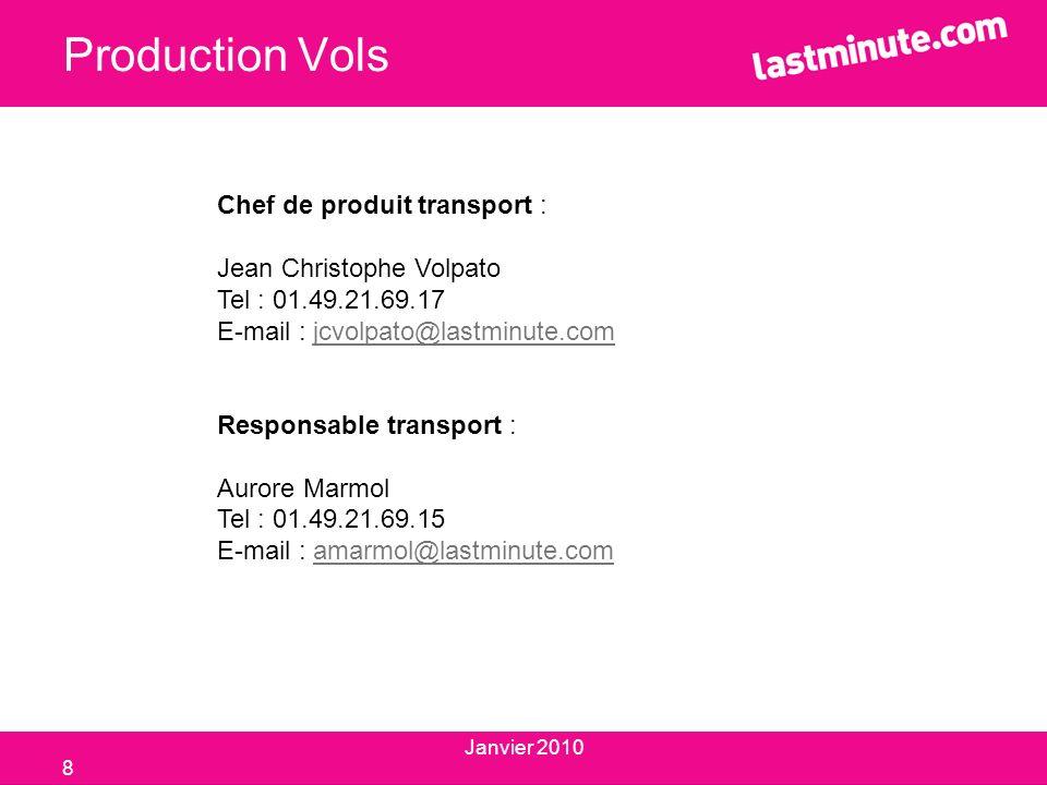 Production Vols Chef de produit transport : Jean Christophe Volpato Tel : 01.49.21.69.17 E-mail : jcvolpato@lastminute.comjcvolpato@lastminute.com Res