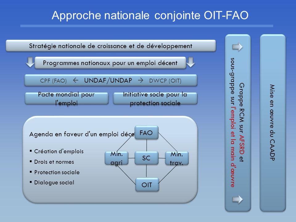 Stratégie nationale de croissance et de développement CPF (FAO) UNDAF/UNDAP DWCP (OIT) Grappe RCM sur AFSRD et sous-grappe sur l'emploi et la main d'œ
