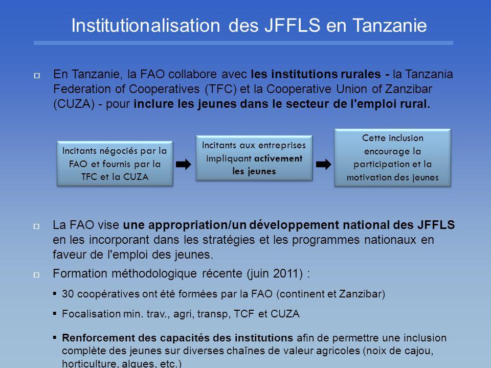Institutionalisation des JFFLS en Tanzanie La FAO vise une appropriation/un développement national des JFFLS en les incorporant dans les stratégies et
