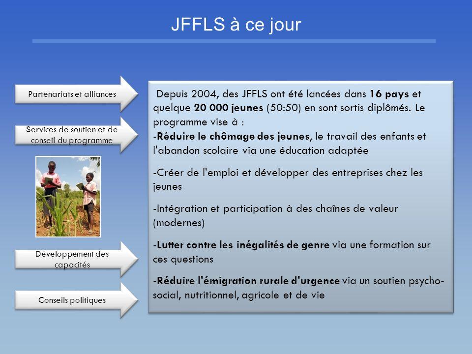 JFFLS à ce jour Depuis 2004, des JFFLS ont été lancées dans 16 pays et quelque 20 000 jeunes (50:50) en sont sortis diplômés. Le programme vise à : -R