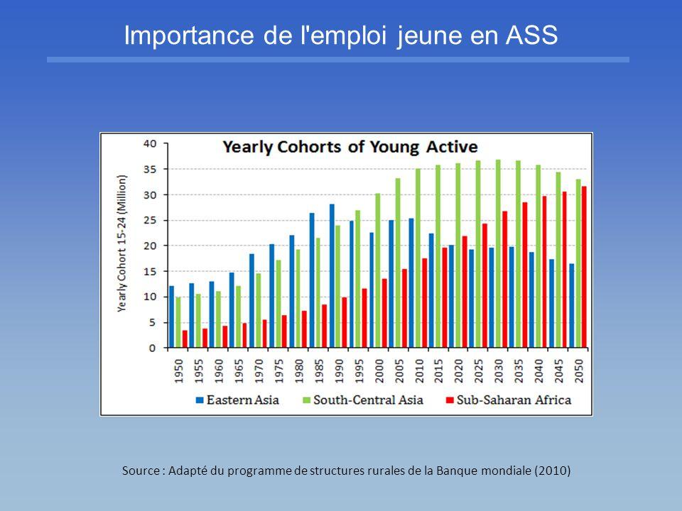 Importance de l'emploi jeune en ASS Source : Adapté du programme de structures rurales de la Banque mondiale (2010)