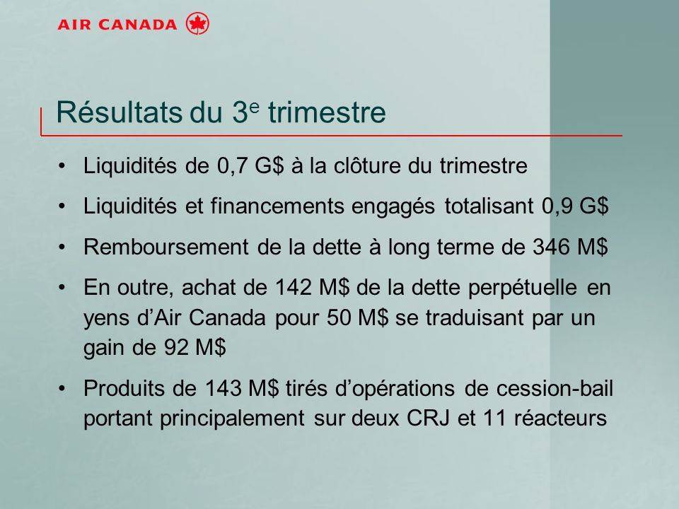 Résultats du 3 e trimestre Liquidités de 0,7 G$ à la clôture du trimestre Liquidités et financements engagés totalisant 0,9 G$ Remboursement de la dette à long terme de 346 M$ En outre, achat de 142 M$ de la dette perpétuelle en yens dAir Canada pour 50 M$ se traduisant par un gain de 92 M$ Produits de 143 M$ tirés dopérations de cession-bail portant principalement sur deux CRJ et 11 réacteurs