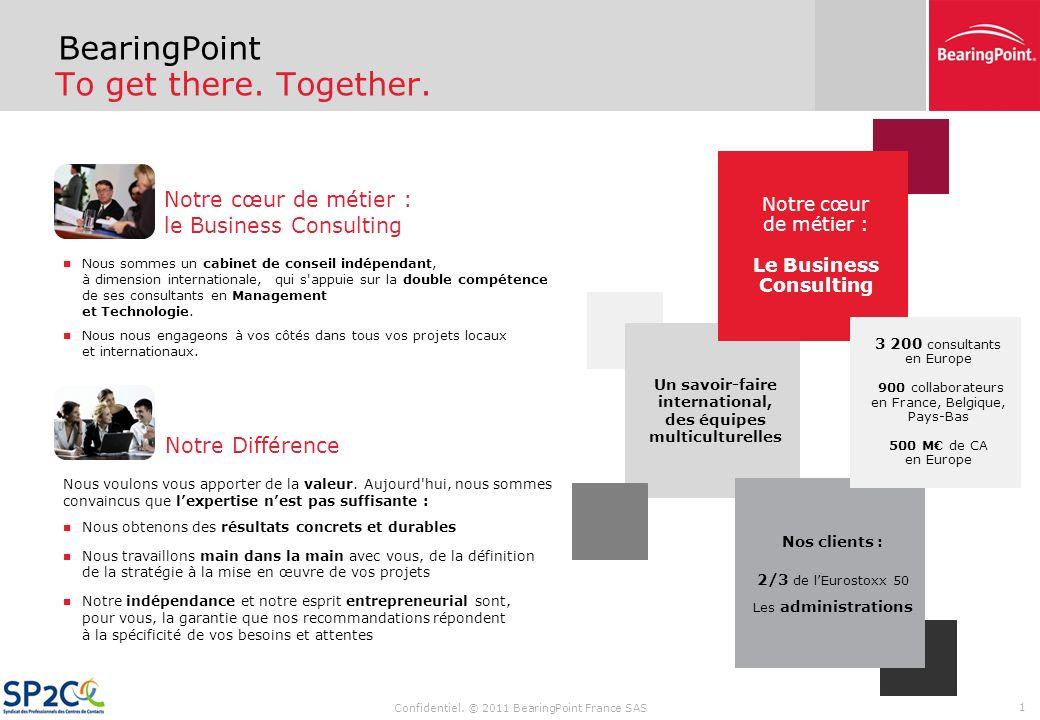 Confidentiel. © 2011 BearingPoint France SAS Conférence de presse BearingPoint – SP2C « Les centres de contact externalisés : un secteur en croissance